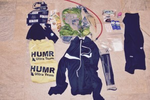 Running gear items used to pace a runner in the Bear 100.