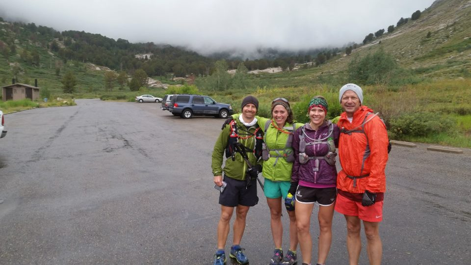 Four endurance runners at the Ruby Crest trail head in Nevada.