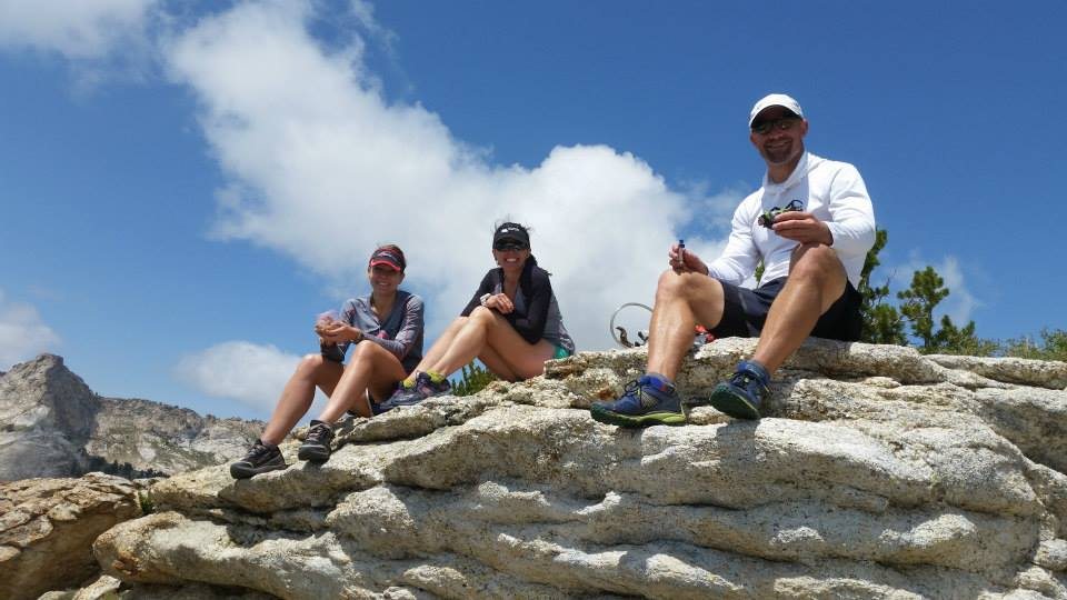 Three runners enjoy a lunch break as they run the Ruby Crest Trail.