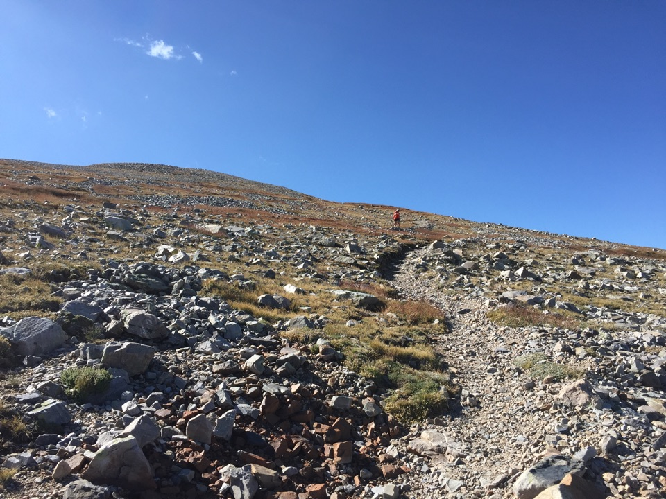 Scree section of trail leading to Wheeler Peak.
