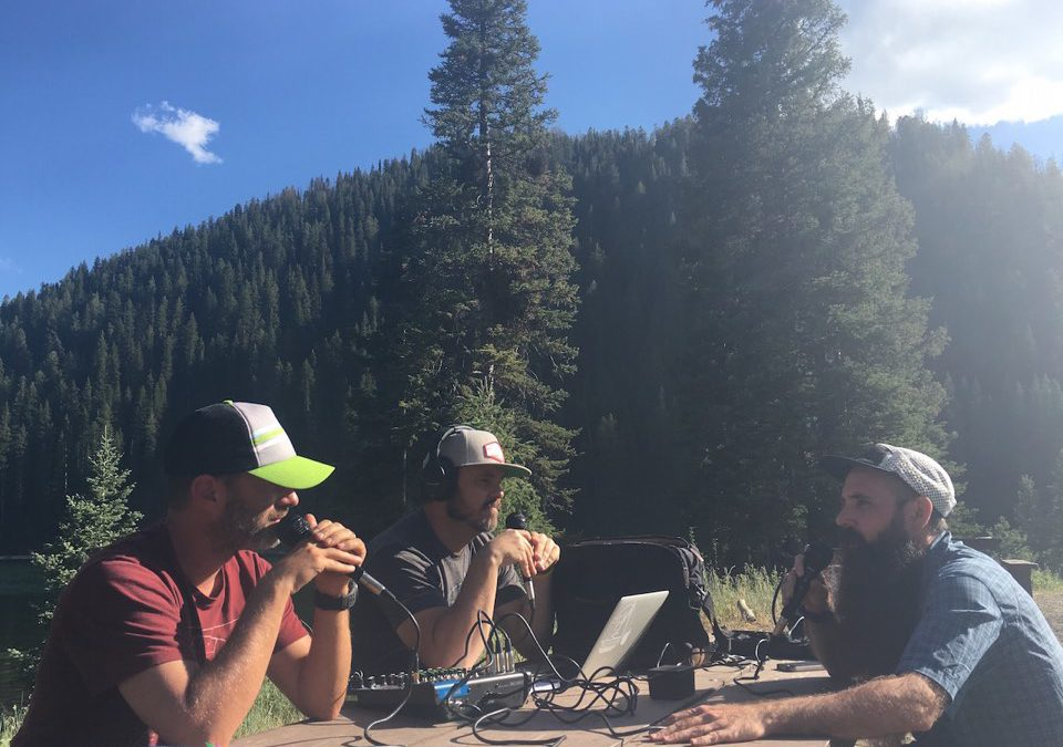 Photo of Aric Manning and Joel Hatch from the TrailManners Podcast interviewing Leon Lutz at the El Vaquero Loco trail race in Afton Wyoming.