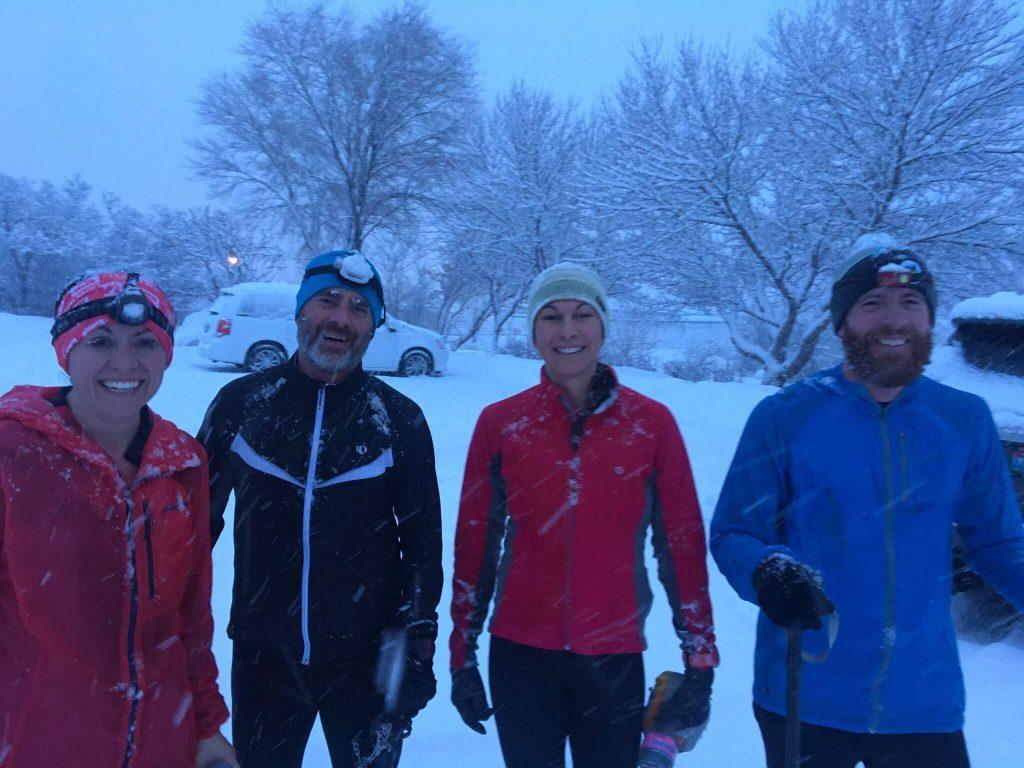 TrailManners group run with Ty Draney, Debbie Farka, Kelsy Bingham, and Joel Hatch.