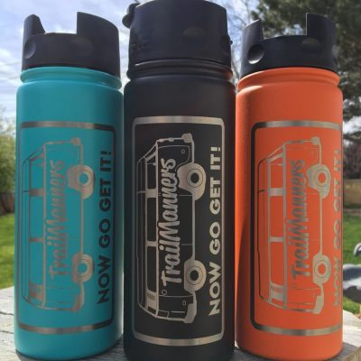 TrailManners stainless steel water bottles.