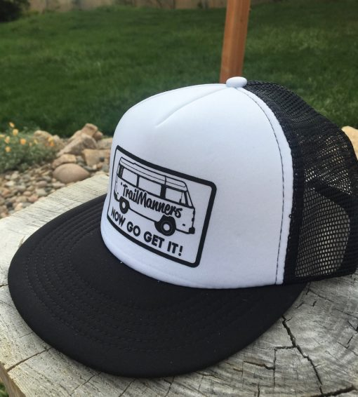Black Trucker hat with TrailManners Logo
