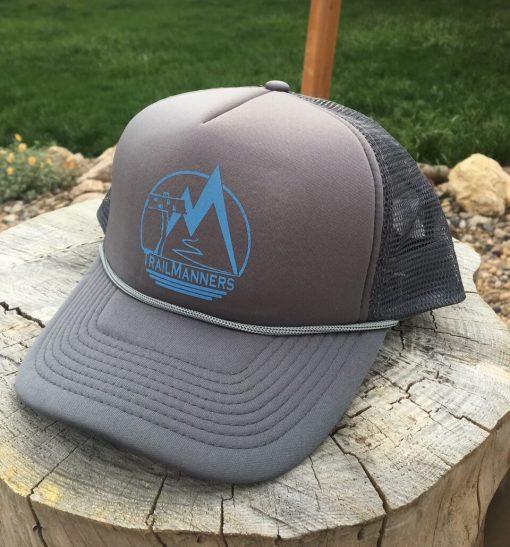 TrailManners foam front trucker hat in Grey/Grey color