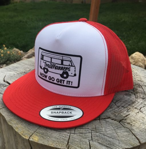 Red Trucker hat with TrailManners logo