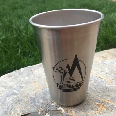 TrailManners Stainless Steel pint glass.