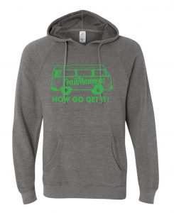 TrailManners grey hoodie with the green Studio 78 logo on the front.
