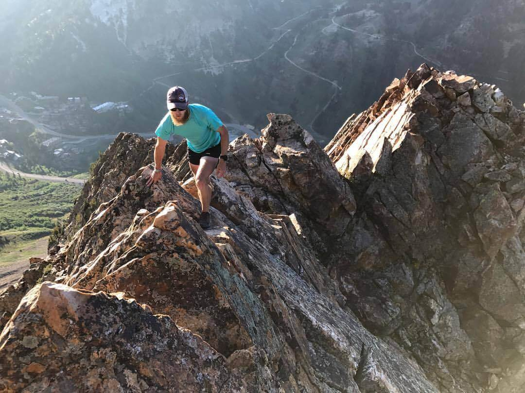 Luke Nelson climbing the south ridge of Mt. Superior in the Wasatch Mountains.