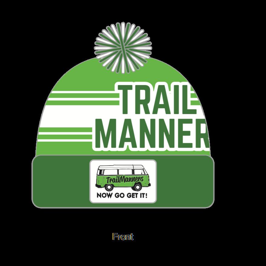 Green TrailManners PomPom beanie.