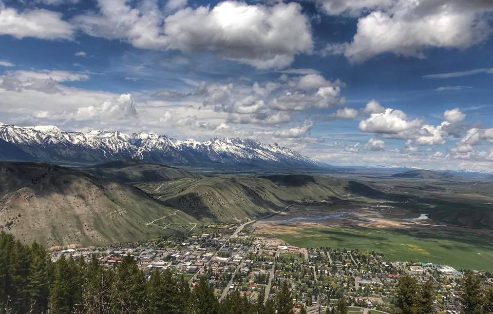 Photo of the Tetons from Snowking Mountain in Jackson, Wyoming.