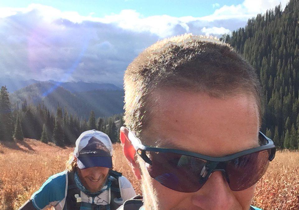 Ultrarunners, Gabe Joyes and Trevor Fuchs on the Teton Crest Trail.
